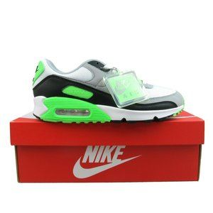 Nike Air Max 90 Athletic Shoes Gray Lime Green